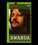 Timbre-poste de Beatles du Rwanda Photos stock