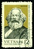 Timbre-poste de cru avec Karl Marx. Images libres de droits