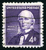 Timbre-poste de Horace Greeley USA Photo libre de droits