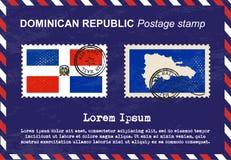 Timbre-poste dominicain, timbre-poste, timbre de vintage, enveloppe de la poste aérienne illustration de vecteur