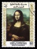Timbre-poste du sud de l'Arabie Mona Lisa Photo stock