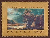 Timbre-poste, Rembrandt Van Rijn, paysage Photographie stock