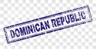 Timbre rayé de rectangle de la RÉPUBLIQUE DOMINICAINE  illustration de vecteur