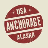 Timbre rond de vintage grunge avec le texte Anchorage, Alaska Illustration Stock