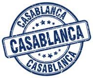Timbre rond grunge bleu de vintage de Casablanca illustration libre de droits