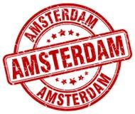 Timbre rond grunge rouge d'Amsterdam illustration libre de droits