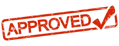timbre rouge avec le texte approuvé Image libre de droits