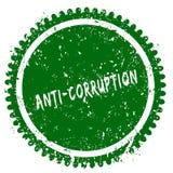 Timbre vert grunge rond d'ANTI CORRUPTION Image libre de droits