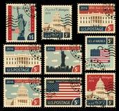 Timbres avec des points de repère des Etats-Unis d'Amérique Photo stock