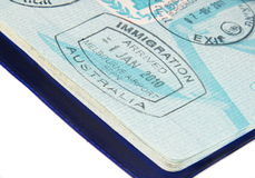 Timbres dans le passeport Images stock