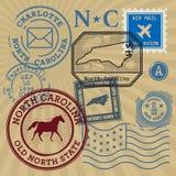 Timbres de courrier réglés avec le nom de la Caroline du Nord Image libre de droits