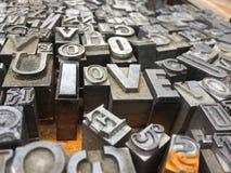 Timbres de presse typographique d'AMOUR Photos libres de droits