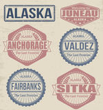 Timbres de villes de l'Alaska Photo stock