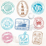 Timbres de vintage de voyage de mer de vecteur Photo stock