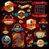 Timbres et label Desi de commerce d'or de vintage de vecteur Image stock