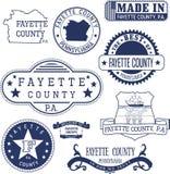Timbres et signes génériques du comté de Fayette, PA Images libres de droits