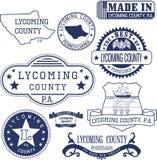 Timbres et signes génériques du comté de Lycoming, PA Photo libre de droits