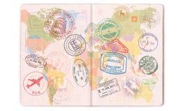 Timbres, joints et visas dans le passeport Voyage de carte du monde illustration de vecteur