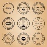 Timbres noirs de courrier pour le Saint Valentin - éléments Image stock