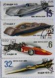 Timbres-poste de l'Union Soviétique avec des voitures de sport images stock