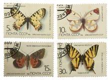 Timbres-poste de l'URSS, avec l'image de l'isolat de papillons Images stock