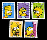 Timbres-poste des Etats-Unis Simpsons Photo libre de droits