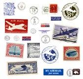 Timbres-poste et étiquettes des USA Image libre de droits