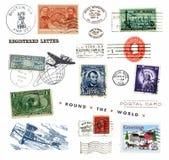 Timbres-poste et étiquettes des USA Photo libre de droits
