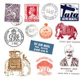 Timbres-poste et labels d'Inde Images stock