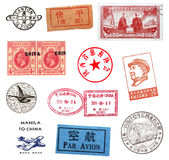 Timbres-poste et labels de Chine Images stock