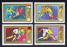Timbres-poste hongrois avec des joueurs de football Images libres de droits