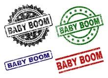 Timbres texturisés rayés de joint de BABY BOOM illustration stock