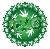 Timbres verts d'illustration des textes de la feuille 420 de marijuana Photographie stock