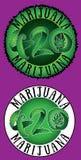 Timbres verts d'illustration des textes de la feuille 420 de marijuana Photo stock