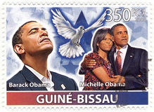 Timbri con Barack Obama Fotografia Stock Libera da Diritti