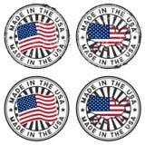 Timbri con il programma, bandierina degli S.U.A. Fatto negli S.U.A. Fotografia Stock Libera da Diritti