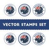 Timbri di gomma australiani della bandiera messi Immagini Stock