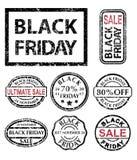 Timbri di gomma di Black Friday messi Fotografie Stock Libere da Diritti