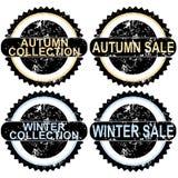 Timbri di gomma di vendita di autunno e di vendita di inverno illustrazione vettoriale