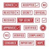 Timbri di gomma Il bollo ufficiale di risoluzione di conformità, ha verificato le statue segrete ed il segno accettato o rifiutat royalty illustrazione gratis
