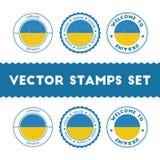 Timbri di gomma ucraini della bandiera messi Immagini Stock Libere da Diritti