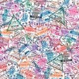 Timbri di visto del passaporto, modello senza cuciture Timbri di gomma dell'ufficio di immigrazione e dell'internazionale Concett illustrazione vettoriale