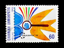 Timbri il serie di mostra Balkanfila, della posta & di filatelia, circa 1989 Fotografie Stock Libere da Diritti
