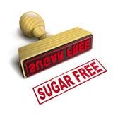 Timbri lo zucchero libero con testo rosso su bianco Immagine Stock