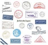 Timbri postali dello zeppelin dalla Germania Fotografie Stock