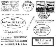 Timbri postali relativi dello Zeppelin Immagine Stock Libera da Diritti