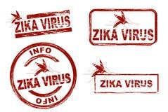 Timbri a umidi stilizzati che mostrano il virus di zika di termine fotografie stock libere da diritti