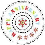 Timbro di gomma: Anniversario felice Immagine Stock