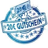 Timbro di gomma con il buono oltre l'euro 20 Immagini Stock Libere da Diritti
