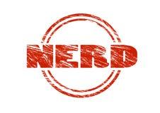 Timbro di gomma d'annata rosso del nerd isolato su fondo bianco Immagine Stock Libera da Diritti